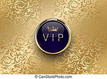 vecteur, rond, prime, illustration., vip, anneau bleu, lustré, conception, vendange, couronne or, floral, invitation, annonce, carte, template., royal, étiquette, cadre, luxe, arrière-plan., ou, or
