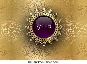 vecteur, rond, prime, pourpre, illustration., vip, anneau, lustré, conception, vendange, couronne or, floral, invitation, annonce, carte, template., royal, étiquette, cadre, luxe, arrière-plan., ou, or