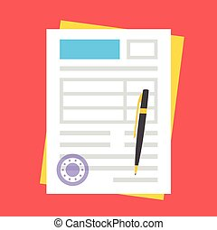 vecteur, rond, timbre, formulaire, stylo
