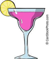 vecteur, rose, blanc, arrière-plan., illustration, cocktail