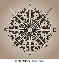 vecteur, rose., illustration., compas