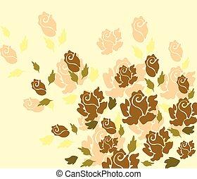 vecteur, rose, jaune, arrière-plan.