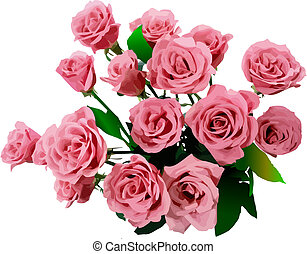 vecteur, roses., illustration, tas
