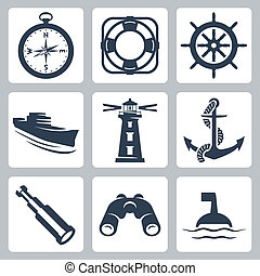 vecteur, roue, longue-vue, jumelles, icônes, direction, bateau, compas, mer, ring-buoy, phare, ancre, set:, bouée