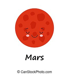 vecteur, rouges, arrière-plan., mignon, planète, espace, blanc, sourire, mars, dormir, illustration, dessin animé, coloré, face.