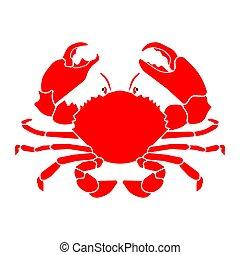 vecteur, rouges, illustration, crabe