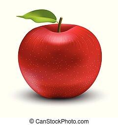 vecteur, rouges, illustration, pomme