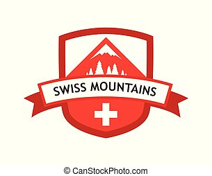 vecteur, rouges, logo, de, suisse, montagnes