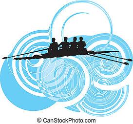 vecteur, rowing., illustration