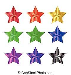 vecteur, ruban, fond, icône, isolé, ensemble, étoile, noël blanc, symbole, illustration, design.