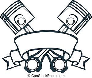 vecteur, ruban, vendange, illustration, pistons