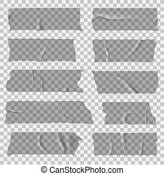 vecteur, rubans adhésifs, isolé, collant, pieces., ensemble, tape., écossais, transparent