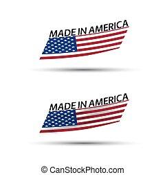 vecteur, rubans, usa, fond, coloré, moderne, américain, isolé, drapeaux, blanc, deux, fait, usa