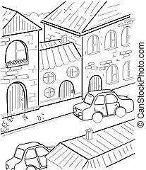 vecteur, rue, dessin animé
