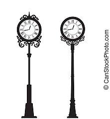 vecteur, rue, horloge