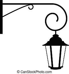 vecteur, rue, lantern.