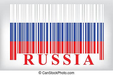 vecteur, russie, barcode, drapeau