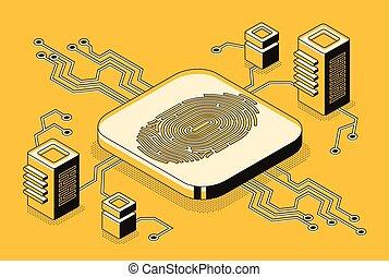 vecteur, sécurité, concept, technologie, biometric