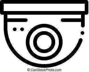 vecteur, sécurité, contour, surveillance, illustration, icône, appareil photo