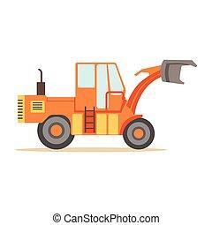 vecteur, série, site, partie machine, camion, travaux routiers, illustrations, construction, excavateur, route