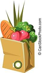 vecteur, sac, papier, illustration, nourriture.