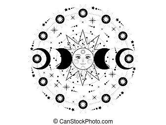 vecteur, sacré, géométrie, soleil, énergie, isolé, circle., planètes, orbites, triple, lune, symbole, déesse, wiccan, phases, lune, fond blanc, transparent, système, année, païen, roue