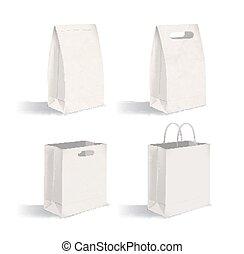 vecteur, sacs, ensemble, publicité, demonstration., isolé, paquet, sans, arrière-plan., papier, illustration, propre, vide, collection, handles., mock-ups., paquets, constitué, blanc, identité