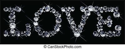 vecteur, saint-valentin, diamants