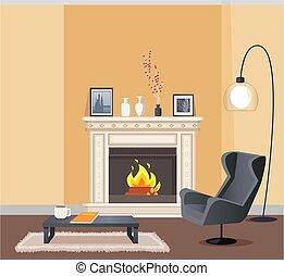 vecteur, salle, couleur, cheminée, corporeal