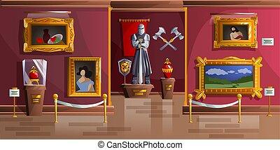vecteur, salle, musée, dessin animé, exposition, illustration
