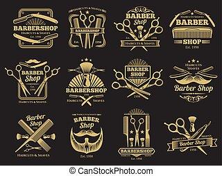vecteur, salon coiffure, emblèmes, vieux, étiquettes