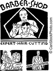 vecteur, salon coiffure, retro, graphiques