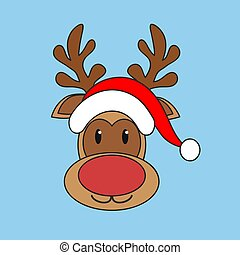 vecteur, santa chapeau, fond, noël, renne, claus, ...