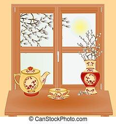 vecteur, saule, chat, printemps, fenêtre