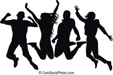 vecteur, saut, femme, coloré, gens, isolated., silhouette., gai, sauter, fond, amis, homme