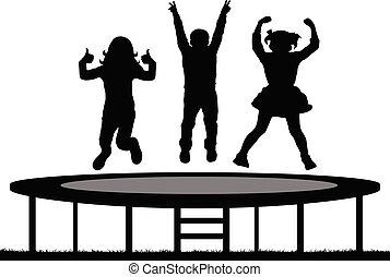 vecteur, sauter, trampoline, silhouette, enfants