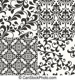 vecteur, schémas floraux, 4, seamless, retro