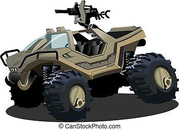 vecteur, sci-fi, dessin animé, véhicule