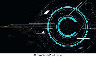 vecteur, sci-fi, technologie, symbole, illustration, futuriste, technologie, propriété, intellectuel, protection copyright