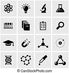 vecteur, science, ensemble, noir, icône