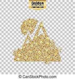 vecteur, scintillement, or, icône