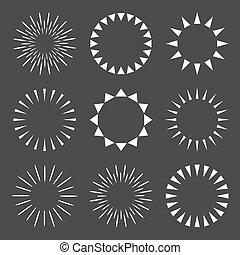 vecteur, scintillements, starbursts., ensemble, icônes