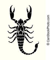 vecteur, scorpion, noir, silhouette