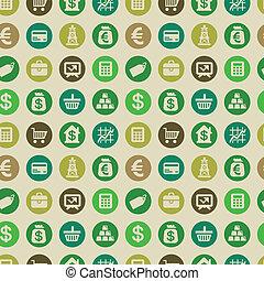 vecteur, seamless, modèle, à, finance, icônes