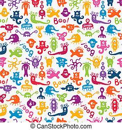 vecteur, seamless, modèle, à, mignon, bébé, monstres