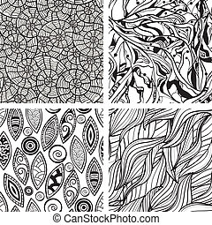 vecteur, seamless, résumé, main, dessiné, monochrome, motifs