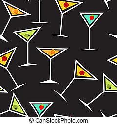 vecteur, seamless, verre cocktail, modèle, fond, alcoolique