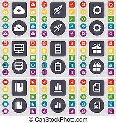 vecteur, serveur, ensemble, coloré, plat, diagramme, texte, engrenage, fusée, symbole., cadeau, boutons, grand, dictionnaire, fichier, batterie, icône, nuage, ton, design.