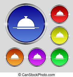 vecteur, servir, ensemble, restaurant, nourriture, symbole., signe, buttons., table, icon., plat, coloré, monture