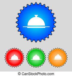 vecteur, servir, ensemble, restaurant, nourriture, symbole., signe, buttons., table, icon., plat, coloré, monture